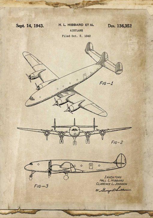 Plakat z patentem na samolot pasażerski