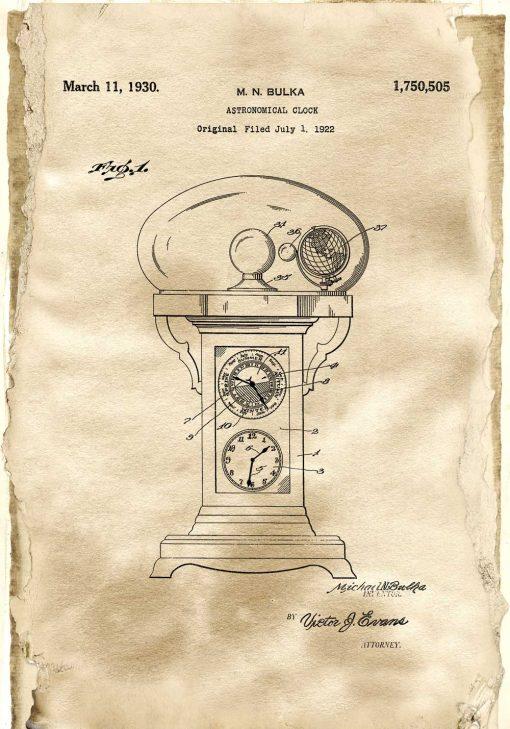 Plakat z projektem starego zegara do gabinetu