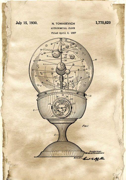 Plakat vintage z motywem starego zegara do poczekalni