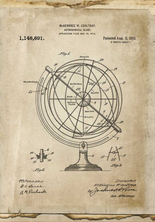 Stary rysunek globu - Plakat vintage dla wynalazcy