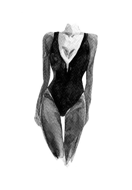 Plakat z kobietą w kostiumie
