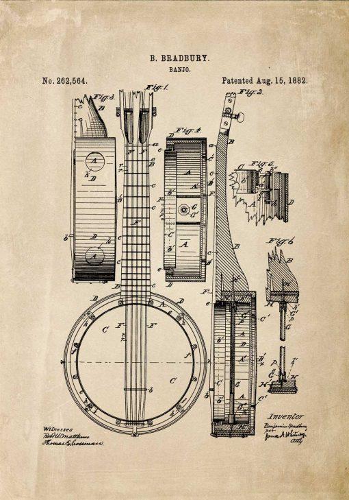 Plakat vintage z rysunkiem banjo do przedpokoju