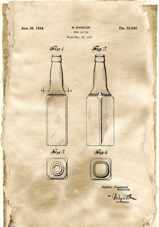 Plakat w sepii - koncesja na wynalazek butelki