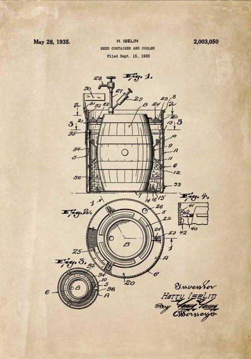 Plakat z patentem na budowę beczki do piwa - 1933r.