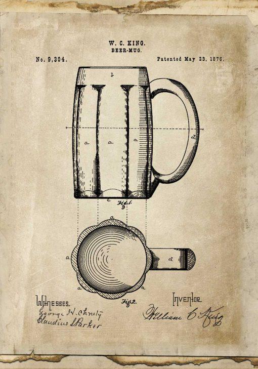 Plakat świadectwo wynalazku - kufel na piwo