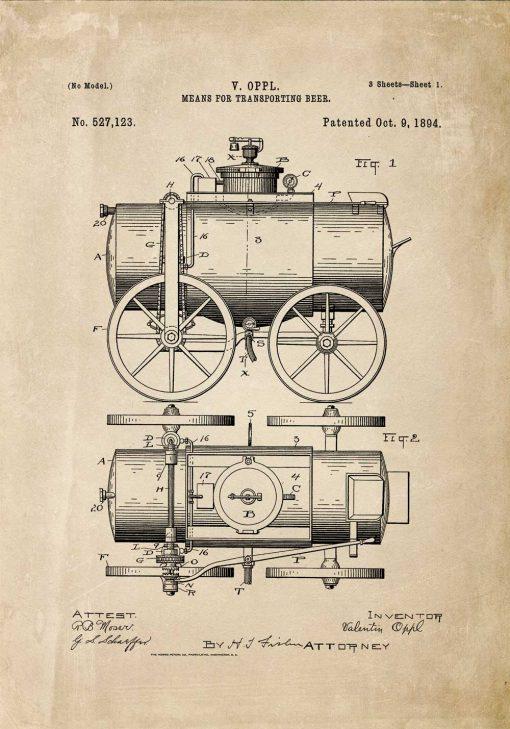Plakat patent na produkcję wozu do transportu piwa