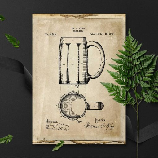 Plakat vintage z patentem na kufel