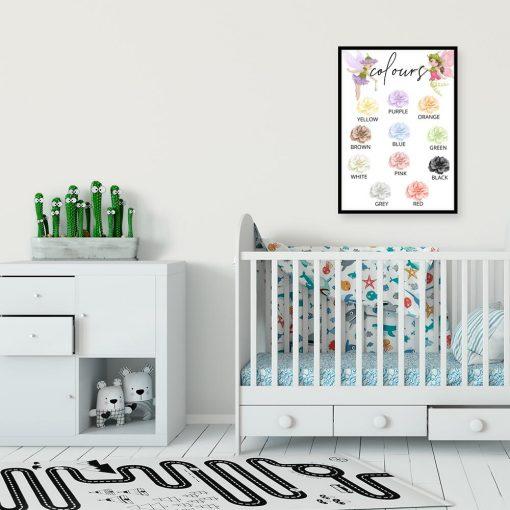 Plakat dla dziewczynek - Kolorowe kwiaty