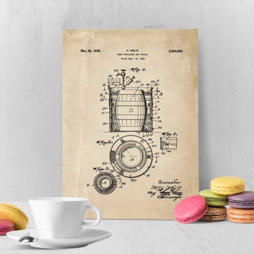 Plakat patentem na budowę beczek i chłodziarek