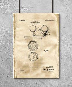 Astronomiczny zegar - Plakat z patentem do dekoracji wnętrz vintage