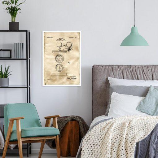 Astronomiczny zegar - Plakat z patentem do dekoracji sypialni