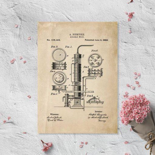 Poster z maszyną do alkoholu