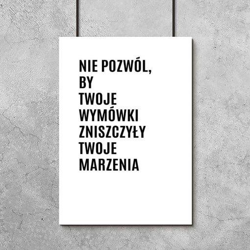 Czarno-biały plakat z maksymą