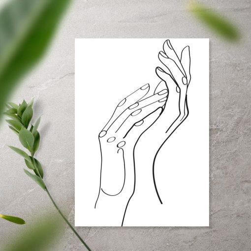Plakat kobiece dłonie w stylu line art
