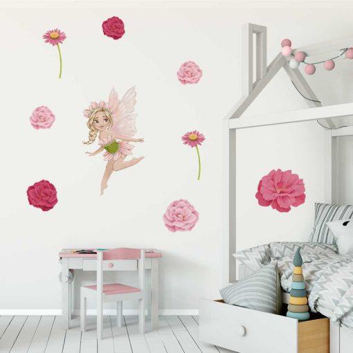 Zestaw różowych naklejek dla dzieci z motywem wróżek
