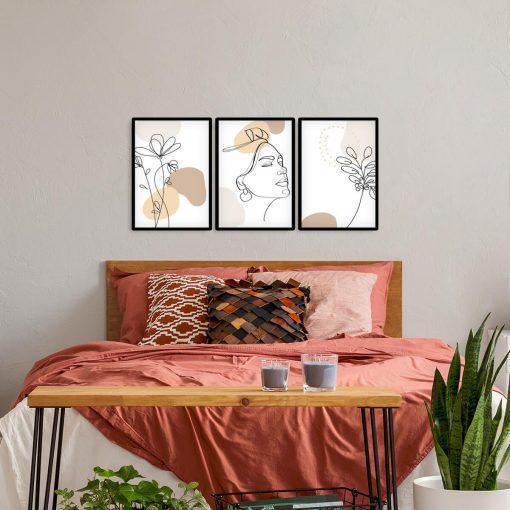 Trzy plakaty do powieszenia w sypialni