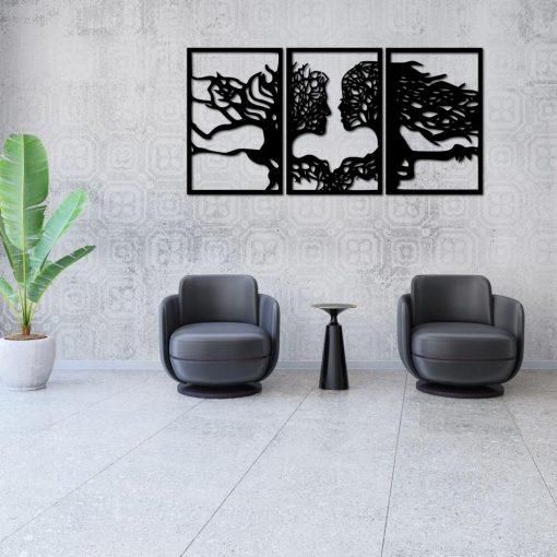 ażurowy obraz tryptyk i drzewa twarze