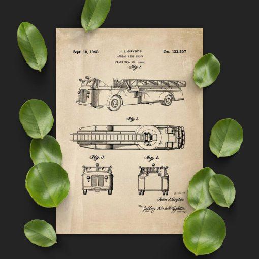 Plakat w sepii z wozem strażackim z 1939r.