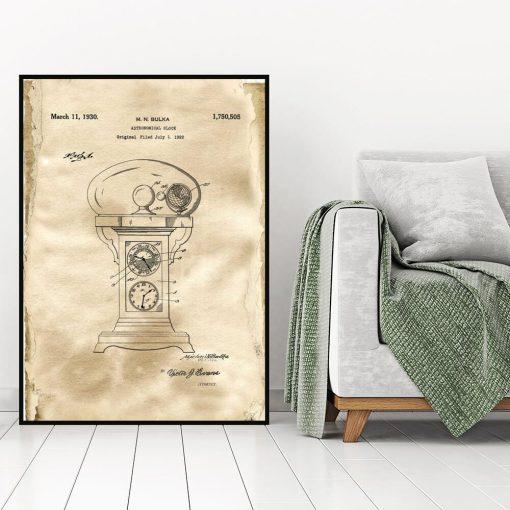 Plakat z projektem starego zegara do salonu