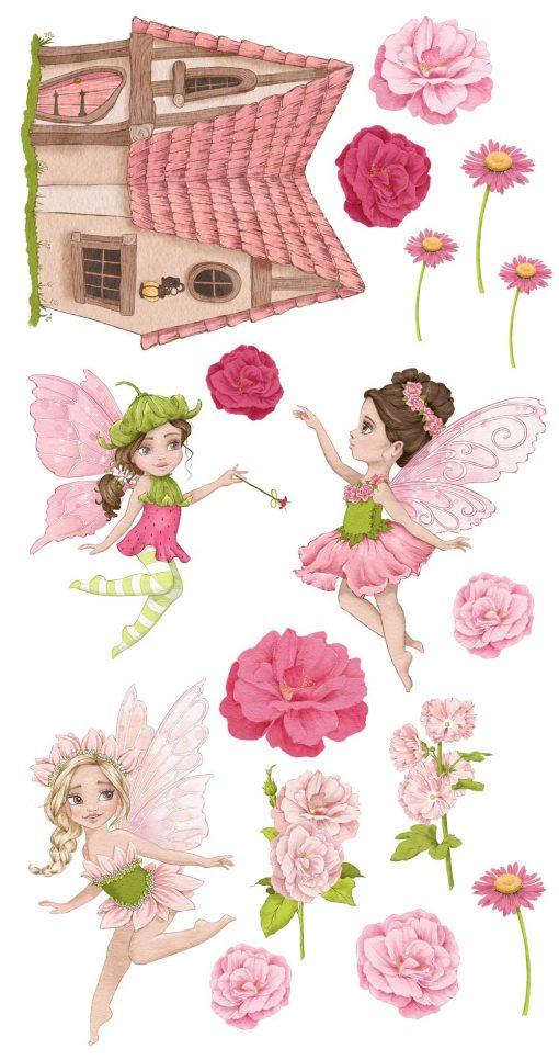 Zestaw różowych naklejek w kwiaty do dziecięcego pokoju