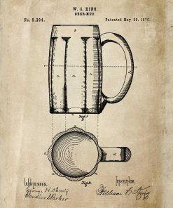 Plakat do pubu z patentem na produkcję szklanek do piwa