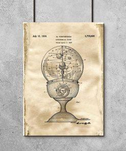 Plakat vintage z motywem starego zegara do dekoracji jadalni