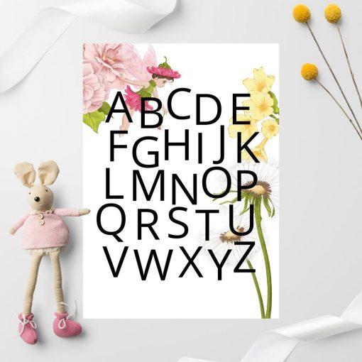 Plakat dla dziecka z różową wróżką