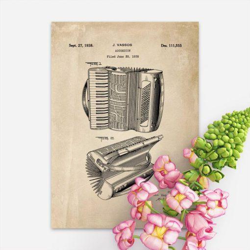Plakat projekt akordeonu w kolorze sepii
