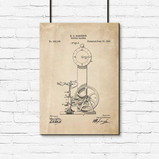 Plakat projekt rowerka treningowego - XIX w.