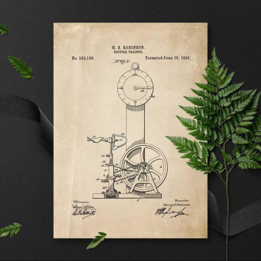 Plakat retro z patentem na bicycle trainer