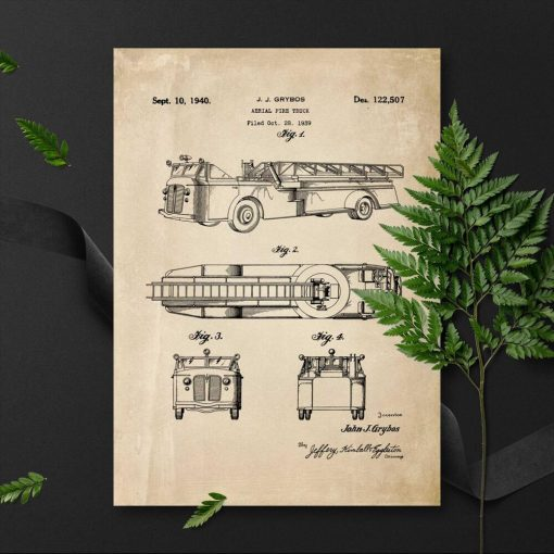 Plakat straż pożarna z 1939r. - wóz bojowy