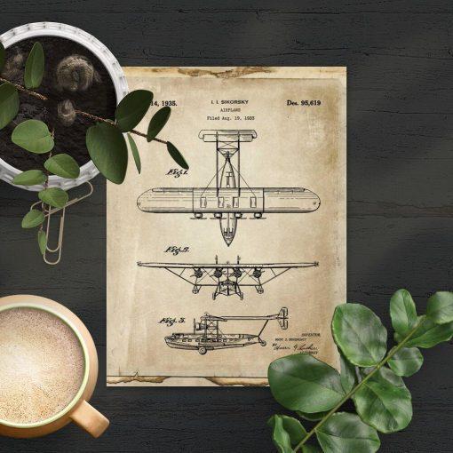 Beżowy plakat z motywem samolotu