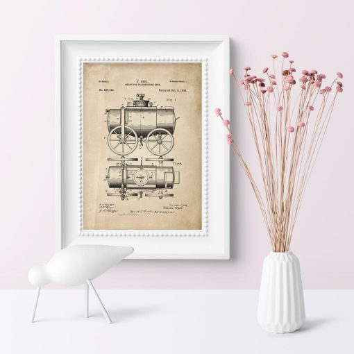 Plakat means for transporting beer - patent z roku 1894