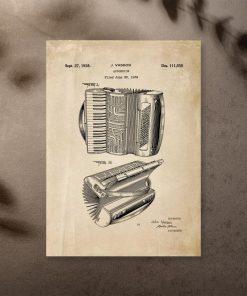 Plakat w stylu vintage z harmonią z roku 1938