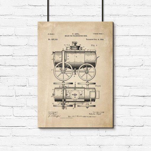 Plakat z patentem na wóz do przewozu piwa - 1894r.