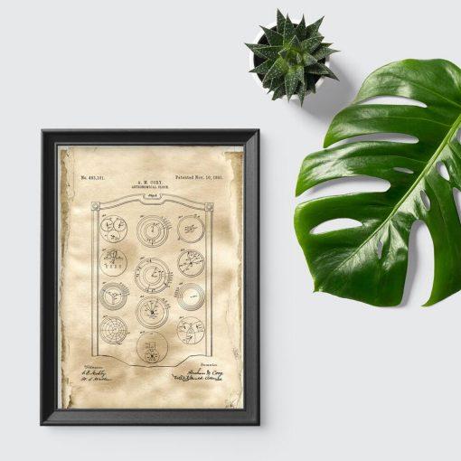 Plakat z patentem w sepii