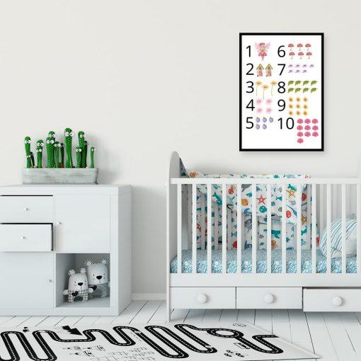 Kolorowy plakat dla dziewczynki w muchomorki