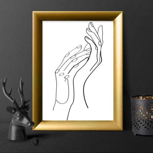 Czarno-biały plakat ze szkicem kobiecych dłoni