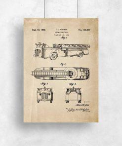 Plakat straż pożarna - auto