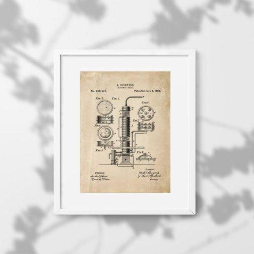 Plakat z maszyną do produkcji alkoholu
