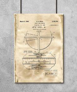 Plakat - Rysunek patentowy zegara z datownikiem do salonu