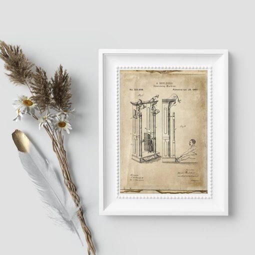 Plakat w sepii z maszyną do ćwiczeń - patent z 1880r.
