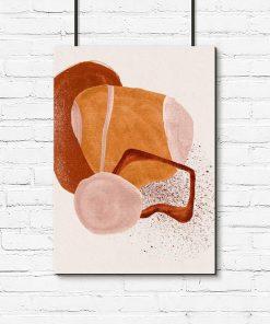 Abstrakcyjny plakat z beżową akwarelą do salonu