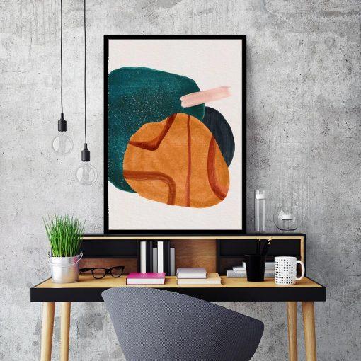 Plakat z plamą w kolorze pomarańczowym do gabinetu