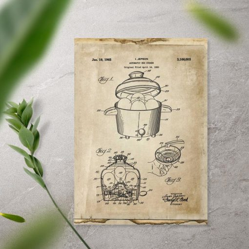 Plakat w sepii z patentem na budowę urządzenia do gotowania jajek