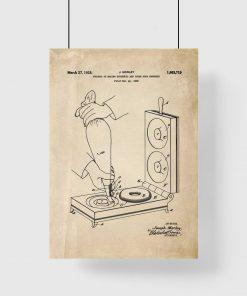 Plakat wynalazkiem z roku 1922 - maszynka do pączków