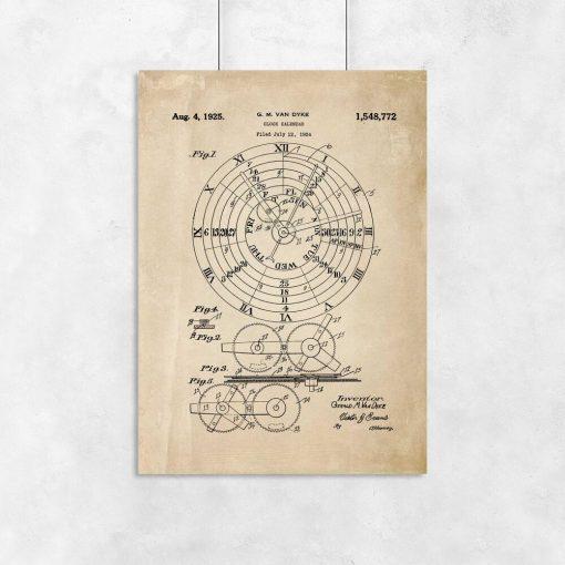 Plakat vintage z motywem schematu budowy urządzenia