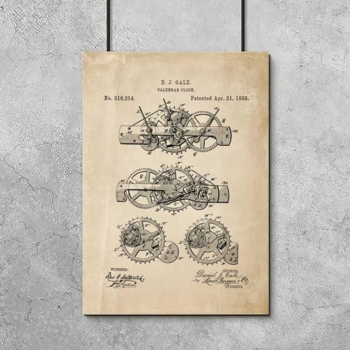 Poster w sepii z ryciną starego urządzenia