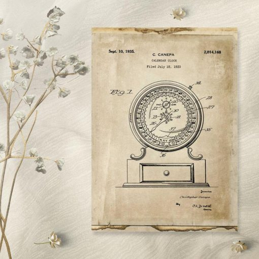Poster vintage z patentem na kalendarz