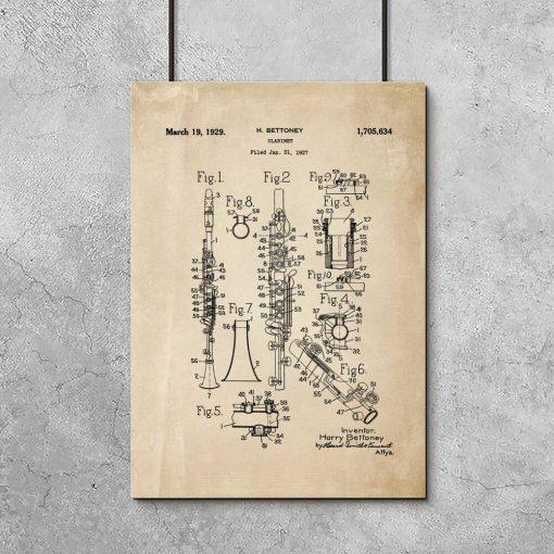 Plakat schemat budowy klarnetu - 1927r.
